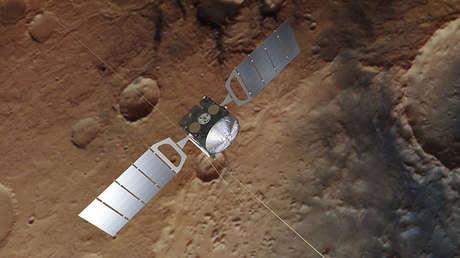 La sonda Mars Express con sus dos mástiles de radar de 20 metros de longitud.