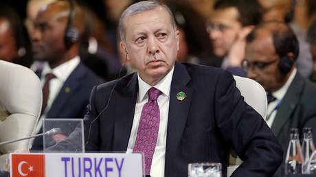 El presidente turco Recep Tayyip Erdogan durante la X Cumbre de los BRICS en Johannesburgo, Sudáfrica, el 27 de julio de 2018.