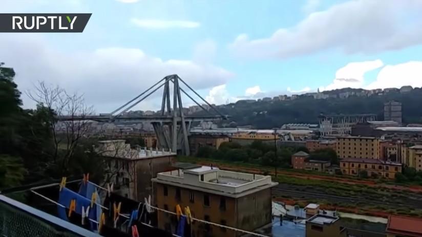 VIDEO: Graban a vehículos a punto de caer al vacío tras el derrumbe del puente en Génova