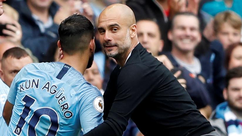 FOTOS: El emotivo beso de Guardiola al 'Kun' Agüero tras su espectacular triplete