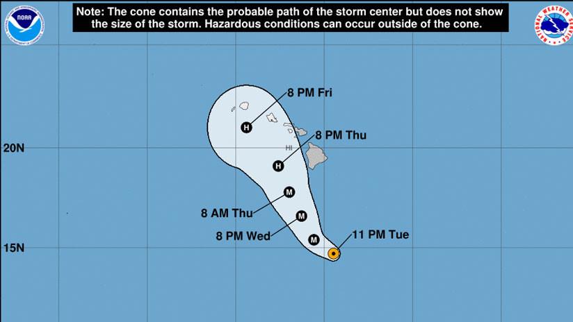 El peligroso huracán Lane alcanza la categoría 5 y se acerca a las islas de Hawái