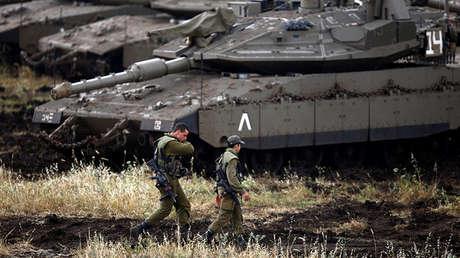 Soldados israelíes en los Altos del Golán, territorio ocupado por Israel, el 9 de mayo de 2018.