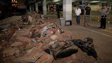 Escombros en la isla indonesia de Bali ocasionados por un fuerte terremoto en la cercana isla de Lombok, 5 de agosto de 2018.