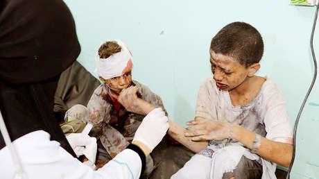 Niños heridos en los ataques en Saada, Yemen, 9 de agosto de 2018