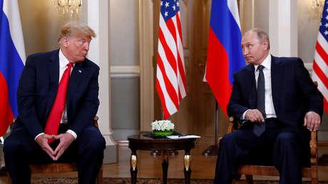 El presidente de los Estados Unidos, Donald Trump, y el presidente ruso, Vladimir Putin, después de su reunión en Helsinki, Finlandia, el 16 de julio de 2018.