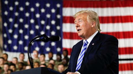 El presidente de EE.UU., Donald Trump, en la base Fort Drum en Nueva York, el 13 de agosto de 2018.