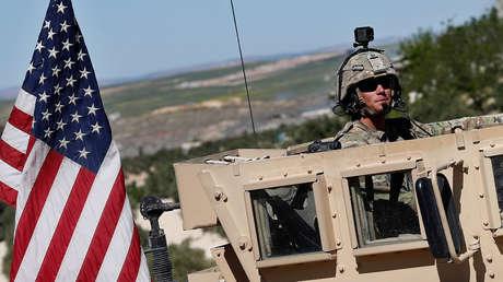 Soldado estadounidense en un vehículo blindado en el norte de Siria, el 4 de abril de 2018.
