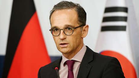 El ministro de Exteriores alemán Heiko Maas durante una conferencia de prensa conjunta con el canciller surcoreano, Kang Kyung-wha, en Seúl, el 26 de julio de 2018.