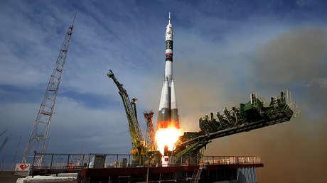 El lanzamiento del cohete portador Soyuz-FG con la nave espacial tripulada Soyuz MS-09 desde el cosmódromo de Baikonur (Kazajistán), el 6 de junio de 2018.