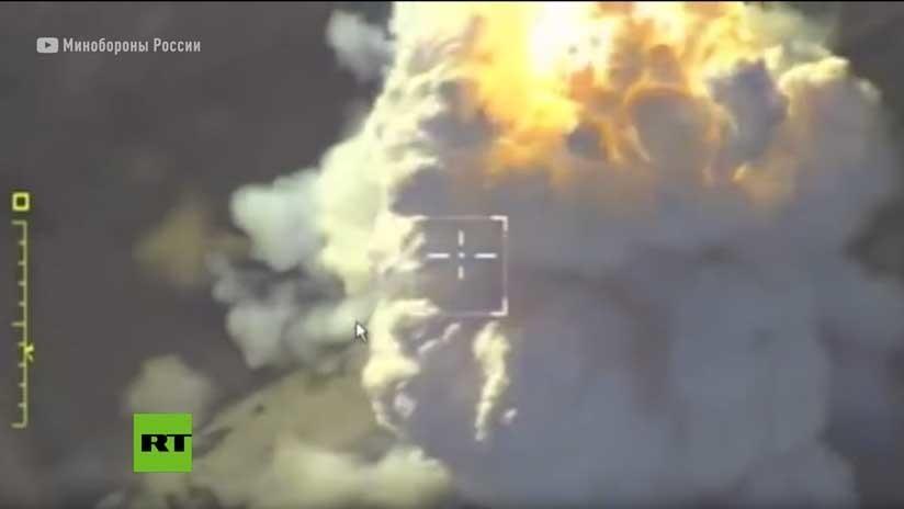 VIDEO: Rusia muestra un ataque aéreo contra el Frente Al Nusra en Idlib
