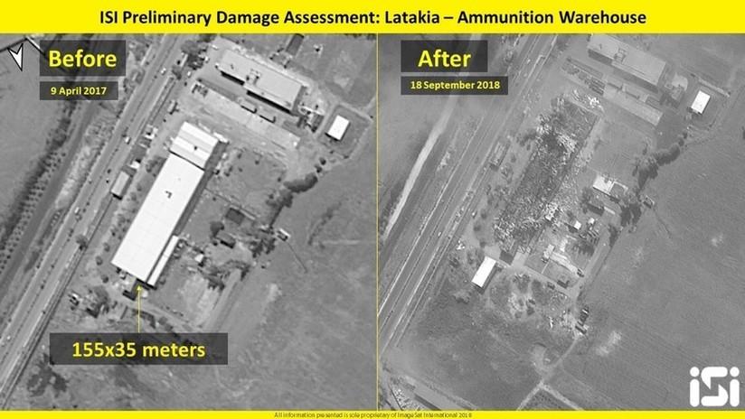 IMÁGENES SATELITALES: Ataque aéreo de Israel deja en ruinas un almacén de armas en Siria