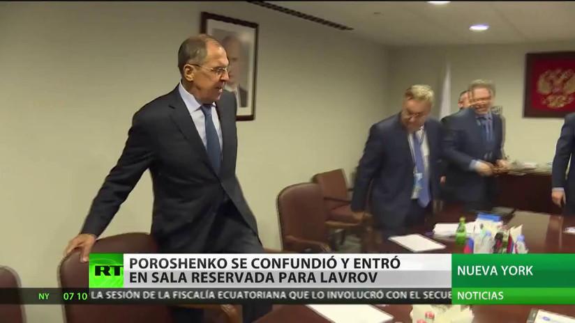 Poroshenko se confunde y entra en la sala reservada para Lavrov en la sede de la ONU