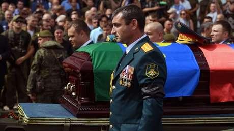 Cortejo fúnebre del líder de la autoproclamada República de Donetks, Alexánder Zajárchenko. Donetsk 2 de septiembre de 2018.