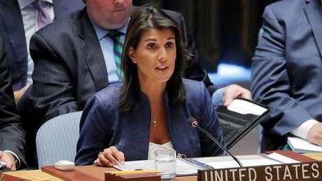 La embajadora de EE.UU. ante la ONU, Nikki Haley, en una sesión del Consejo de Seguridad de las Naciones Unidas en la sede de la ONU en Nueva York, el 23 de agosto de 2018.