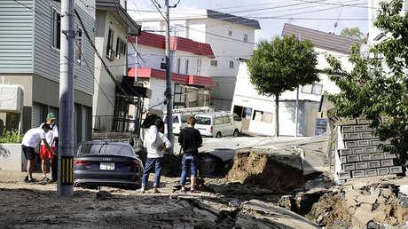 Zona dañada por un terremoto en Sapporo, en la isla de Hokkaido, Japón, septiembre de 2018.