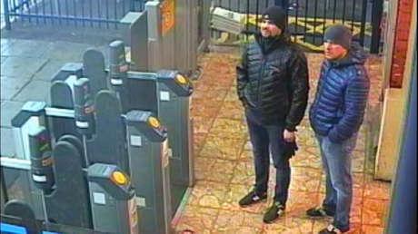 Los sospechosos del ataque a los Skripal en la estación de trenes de Salisbury, el 3 de marzo de 2018. Foto divulgada por la Policía Metropolitana de Londres el 5 de septiembre de 2018.