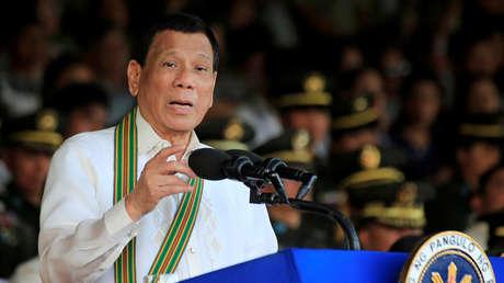 Rodrigo Duterte en un discurso ante militares en la ciudad de Taguig, Filipinas, el 20 de marzo de 2018.