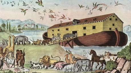 El Arca de Noé, una litografía de la empresa impresora Currier and Ives, 1860
