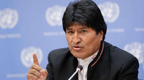 Evo Morales, presidente de Bolivia, en el Foro Indígena de la ONU, Nueva York, abril de 2018.