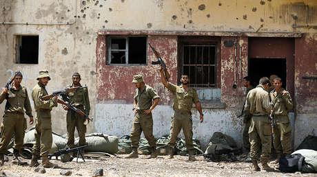 Soldados israelíes participan en ejercicios militares en los Altos del Golán, el 7 de agosto de 2018.