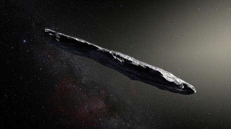 Representación artística de Oumuamua, el primer asteroide interestelar