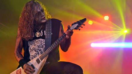 Morgan de la banda de metal Marduk en el Festival de Méan, Bélgica, el 17 de agosto de 2013