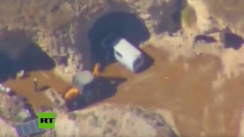 Publican las imágenes del robo de contenedores de cloro por parte de terroristas del EI
