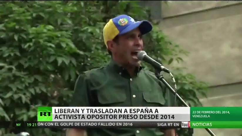 Venezuela: Un activista opositor preso desde 2014 es liberado y trasladado a España