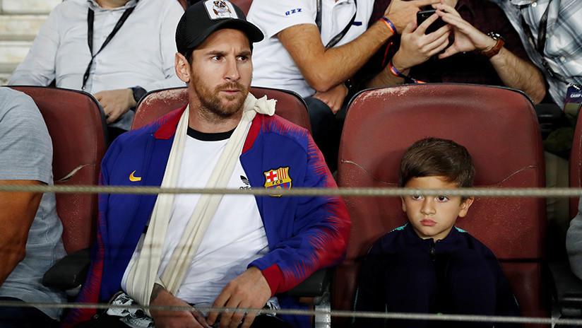 VIDEO: El hijo de Messi dedica el escudo de la Juventus a su padre durante un partido del Barcelona
