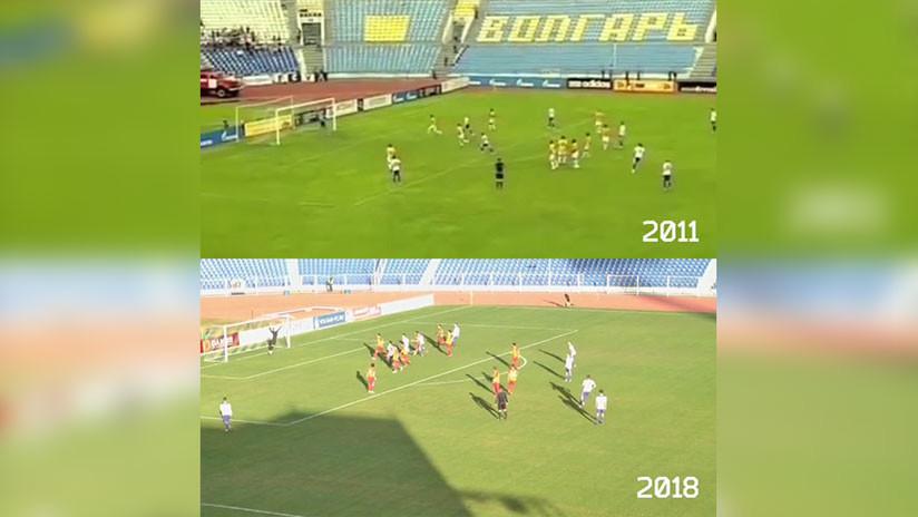 Increíble, pero cierto: Un futbolista ruso marca dos goles idénticos con 7 años de diferencia