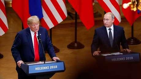El presidente de EE.UU., Donald Trump, y su homólogo ruso, Vladímir Putin, en Helsinki, Finlandia, el 16 de julio de 2018.