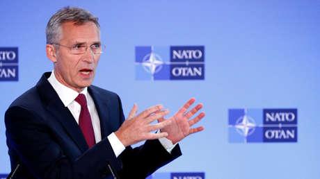 El Secretario General de la OTAN, Jens Stoltenberg, duranteuna conferencia de prensa en Bruselas, Bélgica. 3 de octubre de 2018.