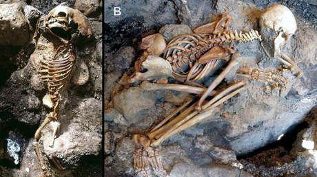 Restos humanos excavados en Herculano, Italia.