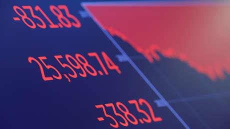 Los números finales del índice Dow Jones en la pantalla de la Bolsa de Valores de Nueva York (NYSE) en Manhattan (EE.UU.), el 10 de octubre de 2018.