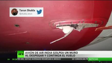 India: Un avión con 136 personas a bordo golpea un muro durante su despegue