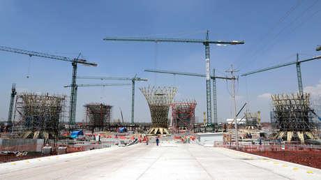 Construcción del Nuevo Aeropuerto Internacional de México ubicado en Texcoco, cerca de la Ciudad de México, 16 de agosto de 2018.