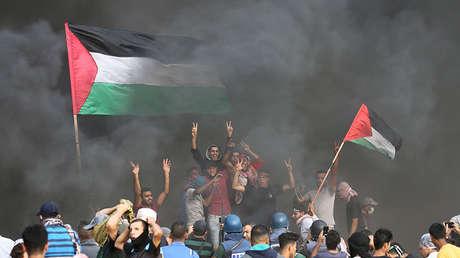 Los manifestantes palestinos en la Franja de Gaza, el 19 de octubre de 2018.