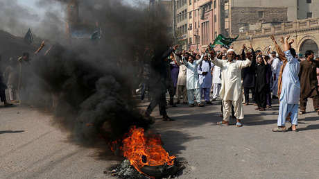 Simpatizantes del partido Tehreek-e-Labaik Pakistan durante una protesta en Karachi contra la absolución de Asia Bibi, el 31 de octubre de 2018.