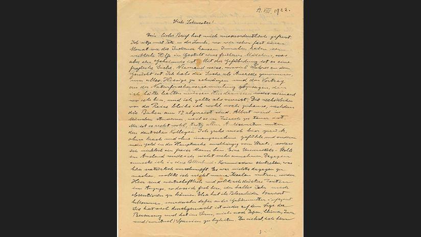 Revelan carta de Einstein que muestra su miedo una década antes del ascenso del nazismo en Alemania