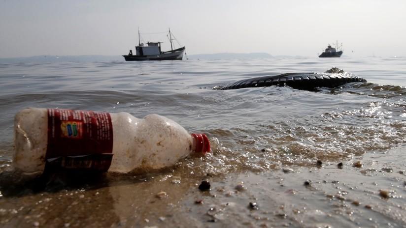FOTO: Pescador extrae una botella de plástico de medio litro del estómago de un pescado