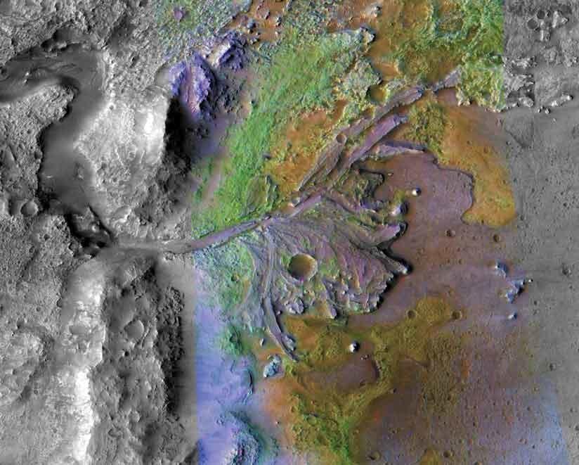 Кратер Jezero на поверхности Марса, где когда-то было озеро