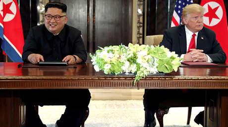 El líder norcoreano, Kim Jong-un, y el presidente de EE.UU., Donald Trump