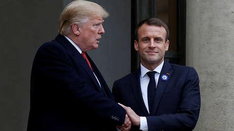 El presidente de Estados Unidos, Donald Trump, y su par francés, Emmanuel Macron.