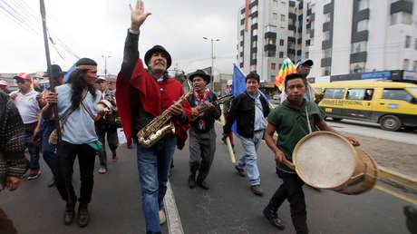 La marcha de organizaciones indígenas a su llegada a Quito, 14 de noviembre de 2018.