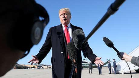 Donald Trump aborda el caso del periodista asesinado Jamal Khashoggi durante una rueda de prensa en Maryland (EE.UU.), el 18 de octubre de 2018.