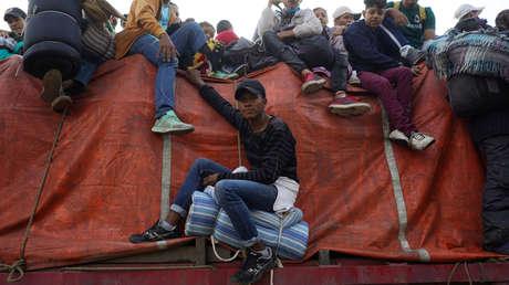 Migrantes centroamericanos en Irapuato (México), 12 de noviembre de 2018.