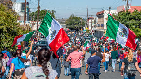 Manifestantes tomaron las calles para protestar por la llegada de miles de solicitantes de asilo de Centroamérica. Tijuana, México, 18 de noviembre de 2018.