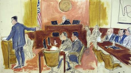 Dibujos hechos por los artistas de la corte federal de Brooklyn el 13 de noviembre de 2018.