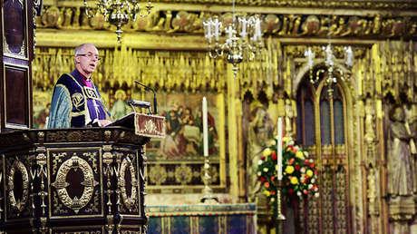 El arzobispo de Canterbury, Justin Welby, durante una misa en la abadía de Westminster, Londres (Reino Unido), el 11 de noviembre de 2018.
