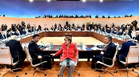 Presidentes del G20 en la cumbre de Hamburgo, Alemania, 7 de julio de 2017.